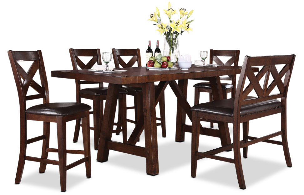 Dining Room Furniture - Adara 6-Piece Counter Height Dining Package