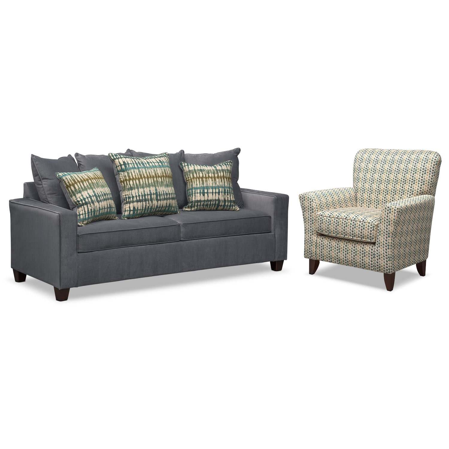 Bryden Sofa And Accent Chair Set Slate Value City Furniture