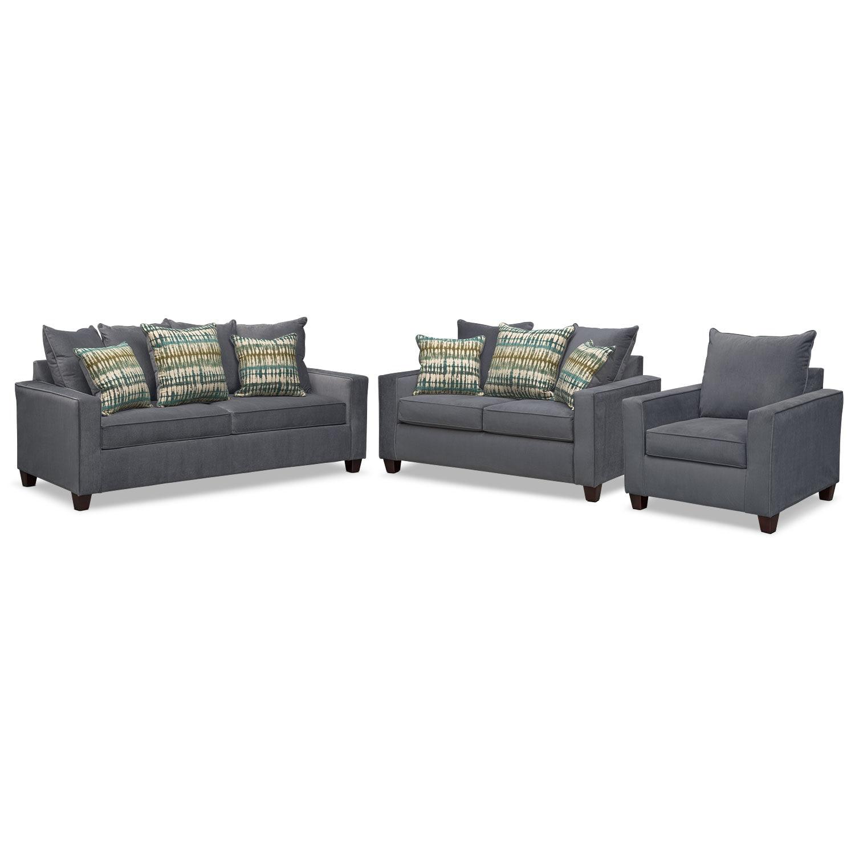 Bryden Innerspring Sleeper Sofa Loveseat And Chair Set Slate American Signature Furniture