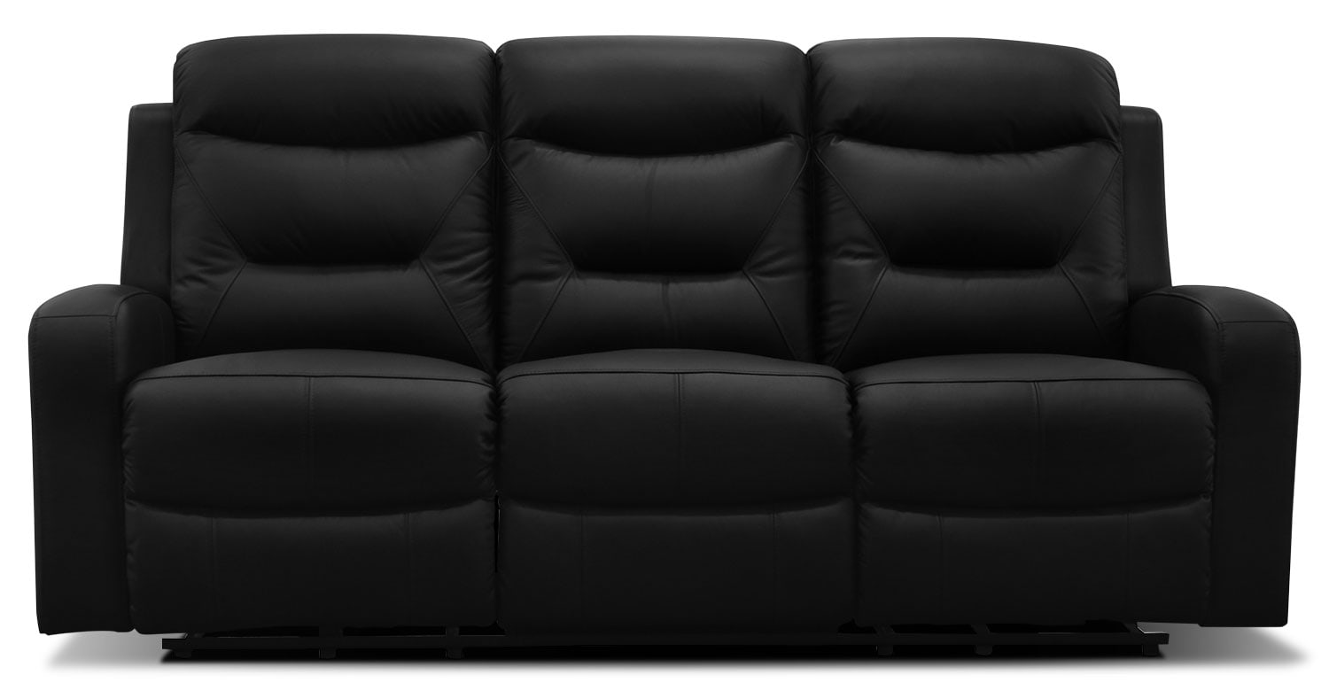 River genuine leather power reclining sofa black for Genuine black leather sectional sofa