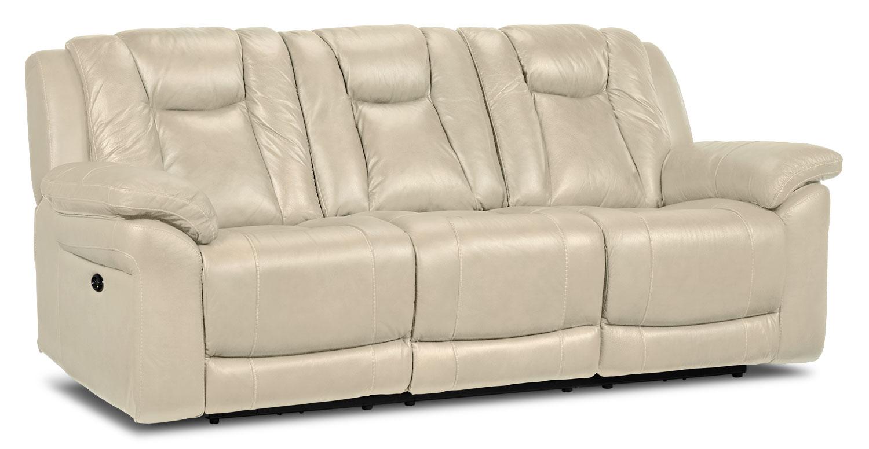 Living Room Furniture - Plato Power Reclining Sofa - Pebble
