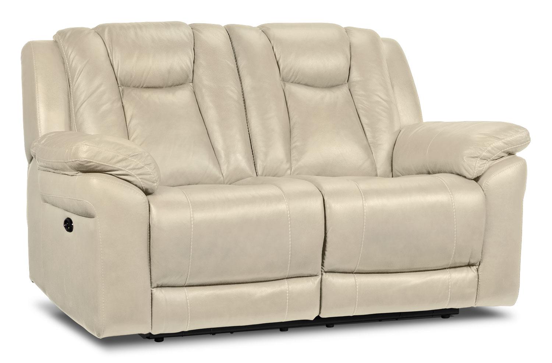 Living Room Furniture - Plato Power Reclining Loveseat - Pebble
