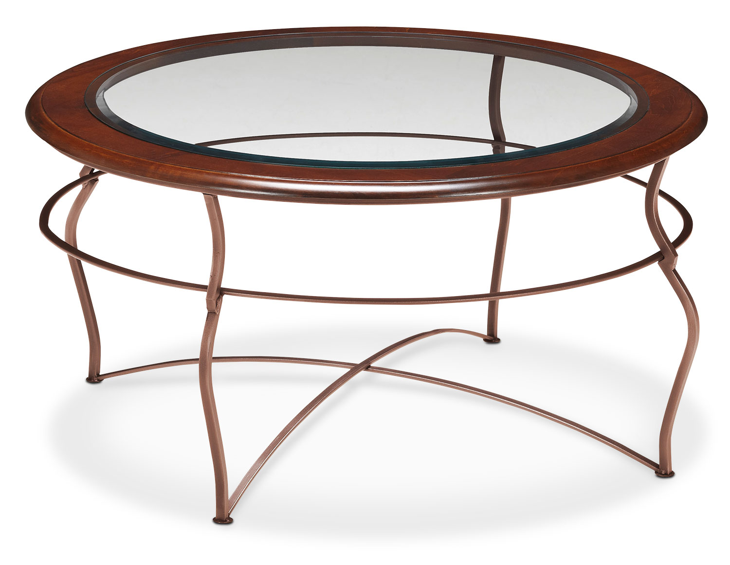 Accent and Occasional Furniture - Adele Coffee Table - Glass Top with Copper Base