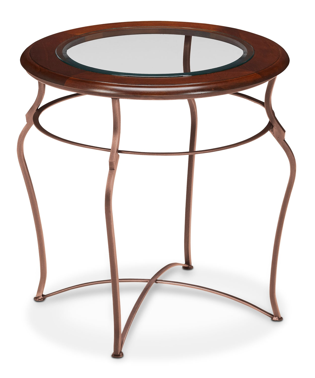 Online Only - Adele End Table - Glass Top with Copper Base