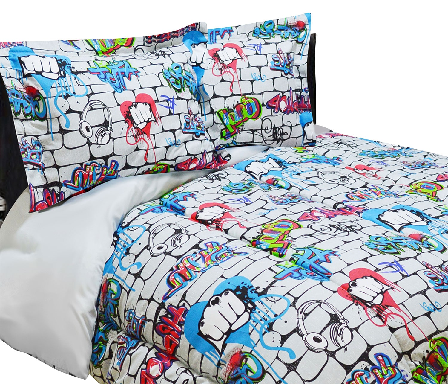 Mattresses and Bedding - Graffiti Wall 3-Piece Full Comforter Set