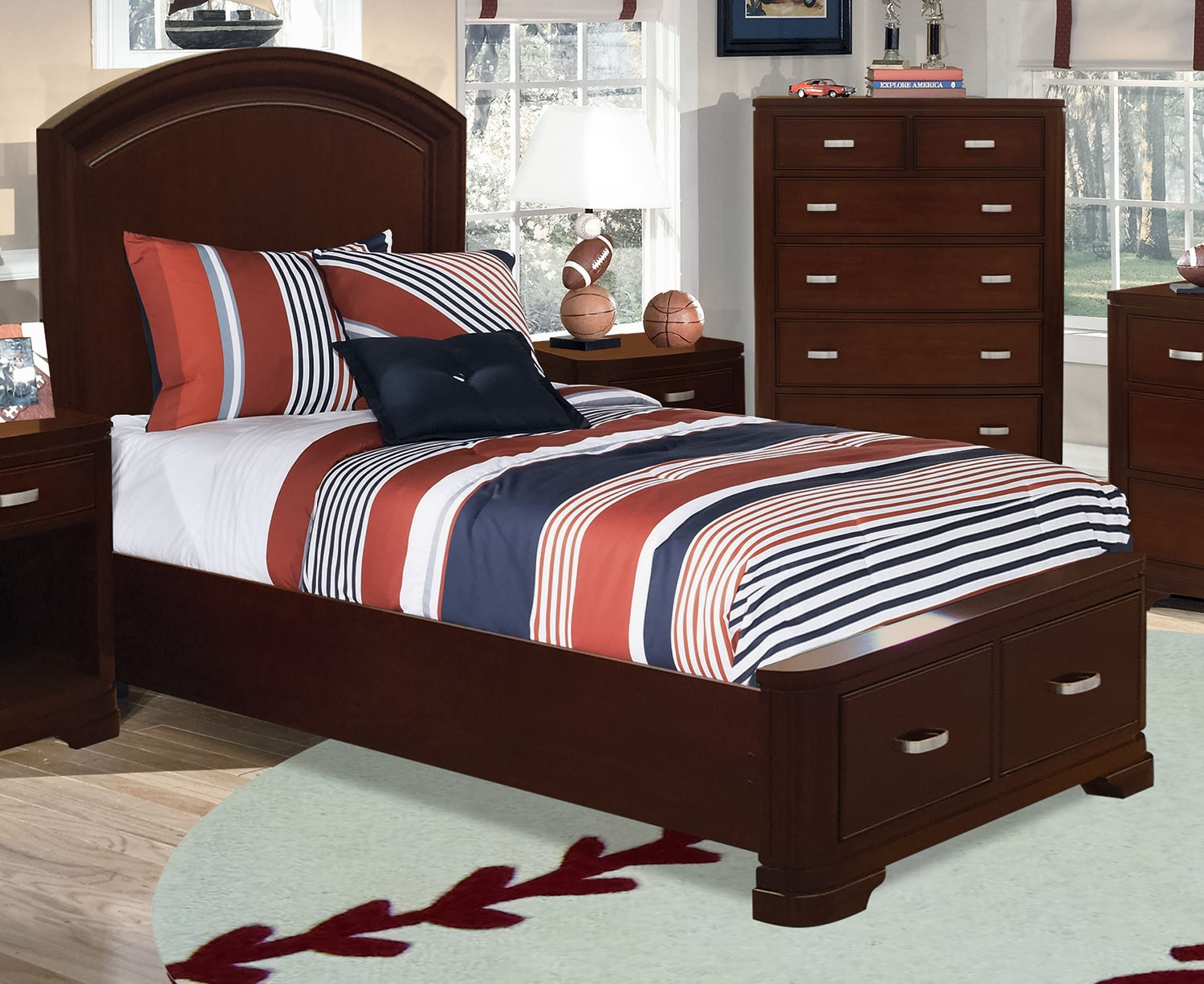 new justin twin storage bed deep cherry leon s 18206 | 445379