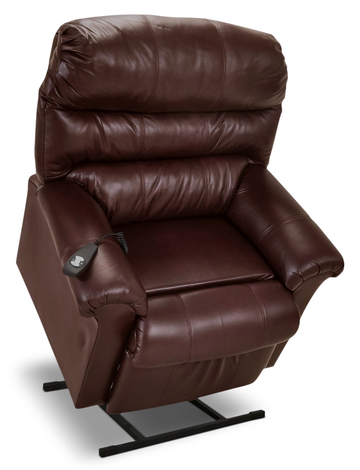 Living Room Furniture - Genuine Leather 3-Position Power Lift Recliner – Brown