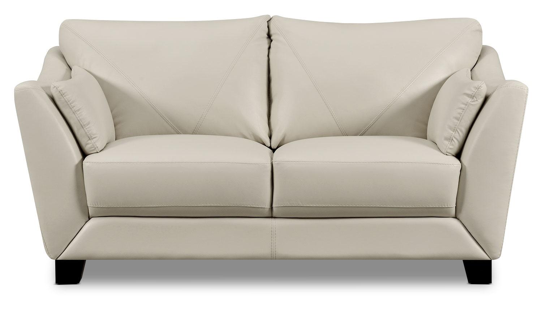 Living Room Furniture - Laken Genuine Leather Loveseat – Smoke
