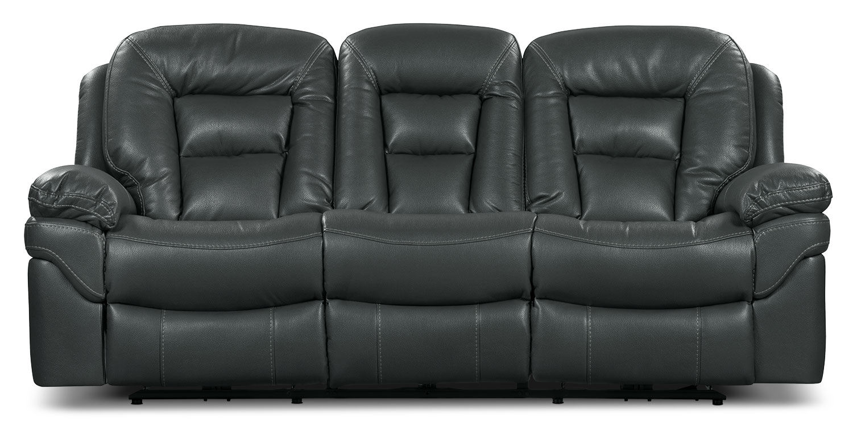 Leo Leath Aire Fabric Reclining Sofa Grey The Brick