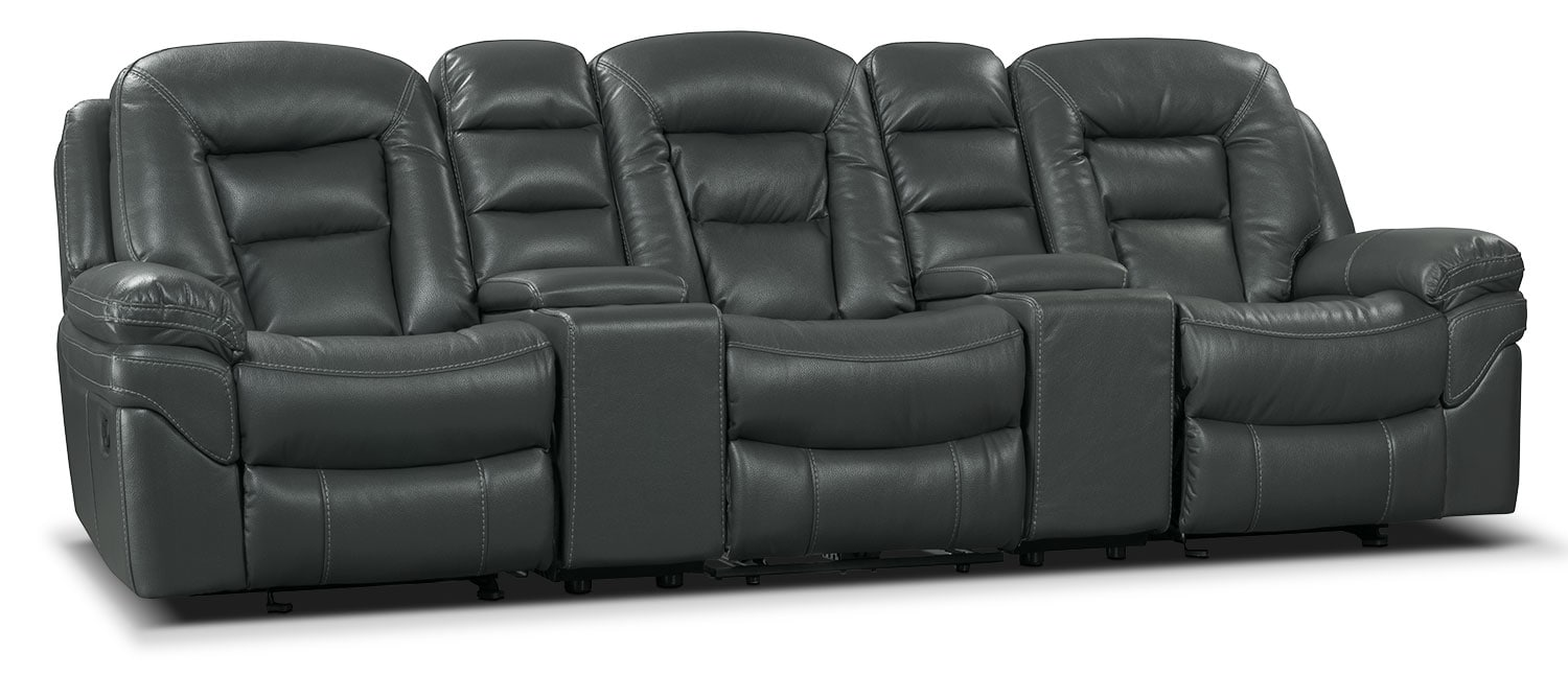 Living Room Furniture - Leo Leath-Aire® Fabric 5-Piece Reclining Home Theatre Sectional – Grey