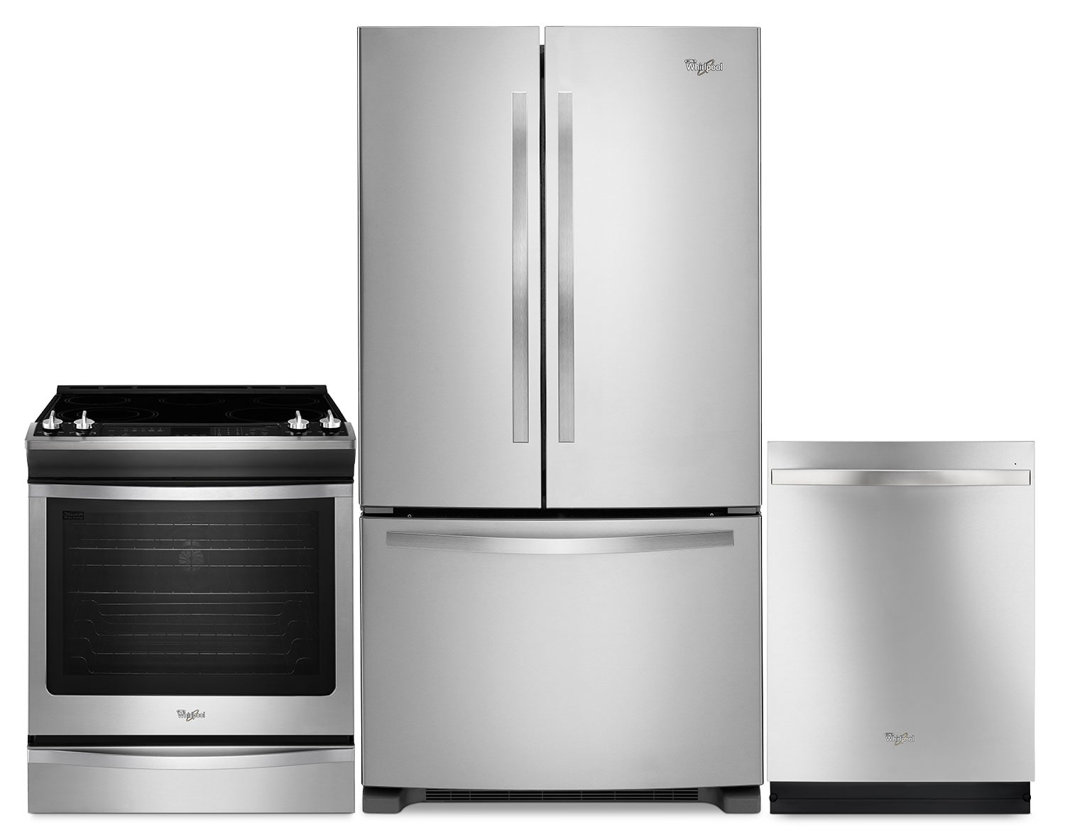 Whirlpool 22 Cu. Ft. Refrigerator, 6.2 Cu. Ft. Range and Built-In Dishwasher – Stainless Steel