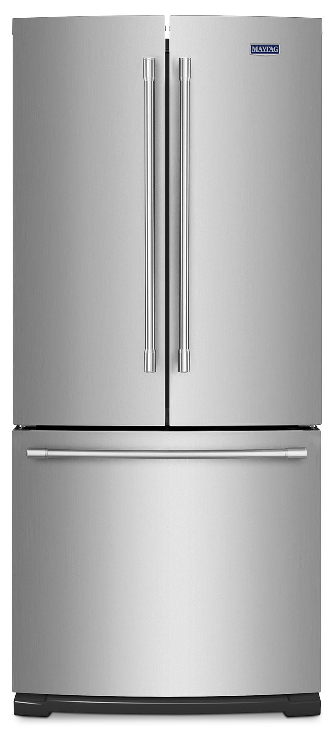 Maytag stainless steel french door refrigerator 19 6 cu for 6 ft wide french doors