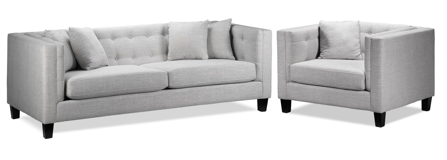 Living Room Furniture - Astin Sofa and Chair and a Half - Grey