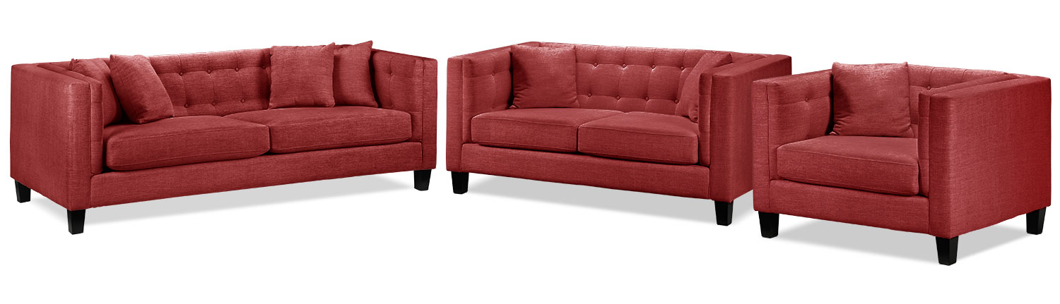 Living Room Furniture - Astin Sofa, Loveseat and Chair and a Half Set - Red