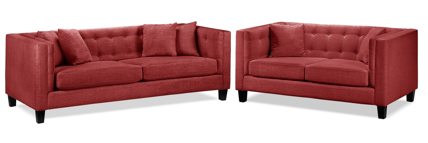 Living Room Furniture - Astin Sofa and Loveseat Set - Red