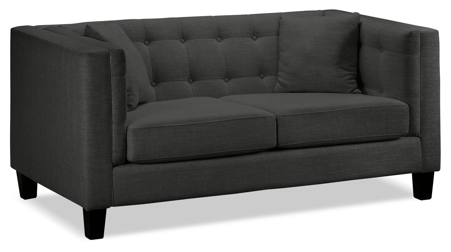 Living Room Furniture - Astin Loveseat - Dark Grey