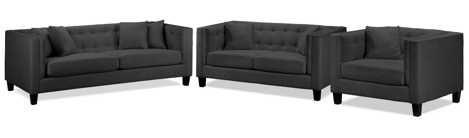 Living Room Furniture - Astin Sofa, Loveseat and Chair and a Half Set - Dark Grey