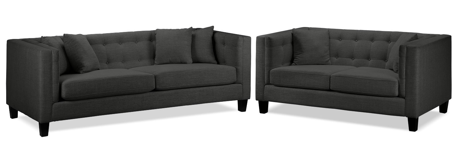 Astin Sofa and Loveseat Set - Dark Grey
