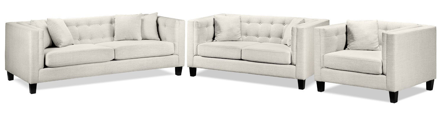 Astin Sofa, Loveseat and Chair and a Half Set - Wheat