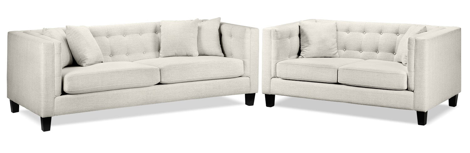 Astin Sofa and Loveseat Set - Wheat