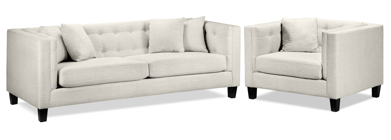 Living Room Furniture - Astin Sofa and Chair and a Half Set - Wheat