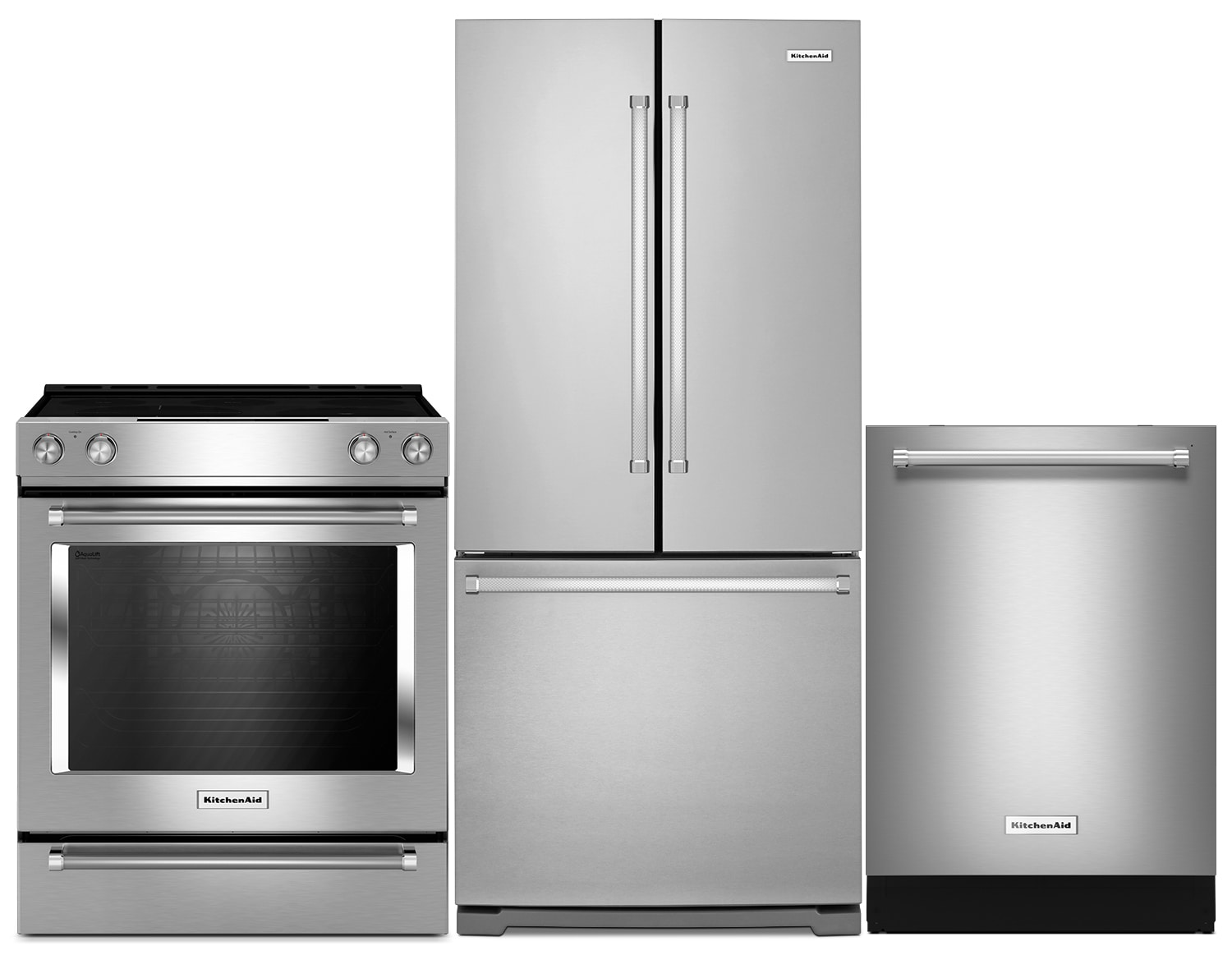 KitchenAid 19.7 Cu. Ft. Refrigerator, 6.4 Cu. Ft. Range and Built-In Dishwasher – Stainless Steel