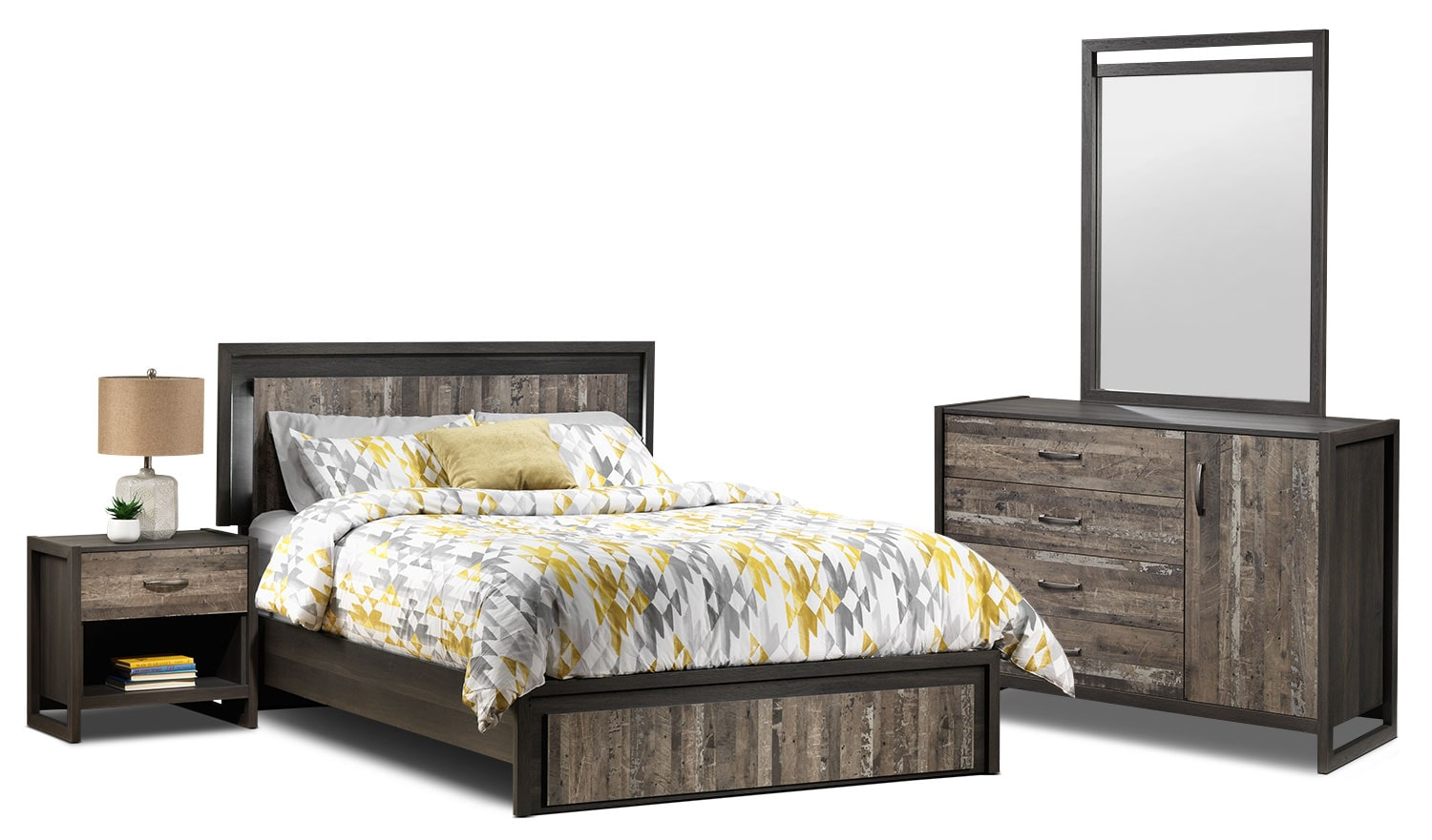 Hudson 5 piece queen bedroom set rustic brown leon 39 s for Bed settings