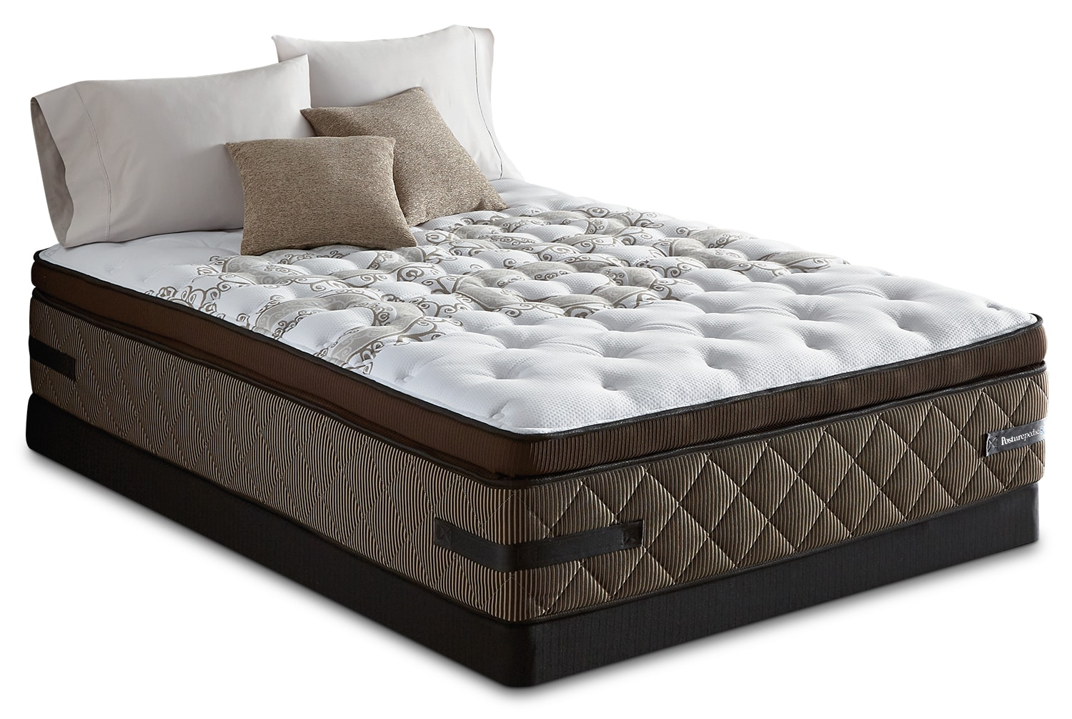 Mattresses and Bedding - Sealy Crown Jewel Sunsera Euro Pillow-Top Firm Low-Profile Split Queen Mattress Set