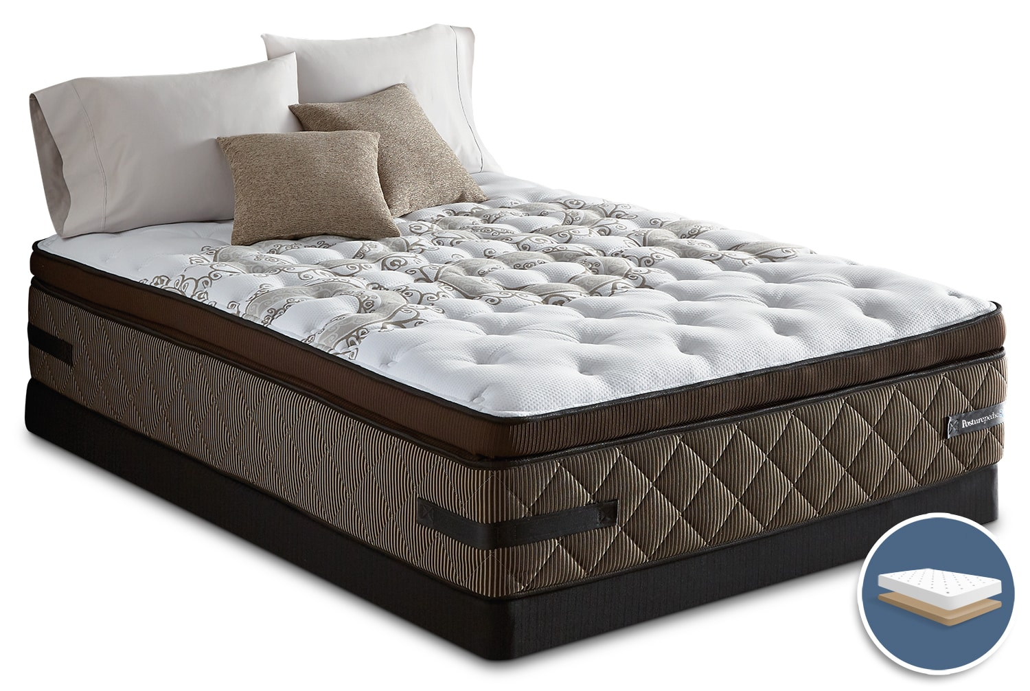 Mattresses and Bedding - Sealy Crown Jewel Sunsera Euro Pillow-Top Firm Low-Profile Queen Mattress Set
