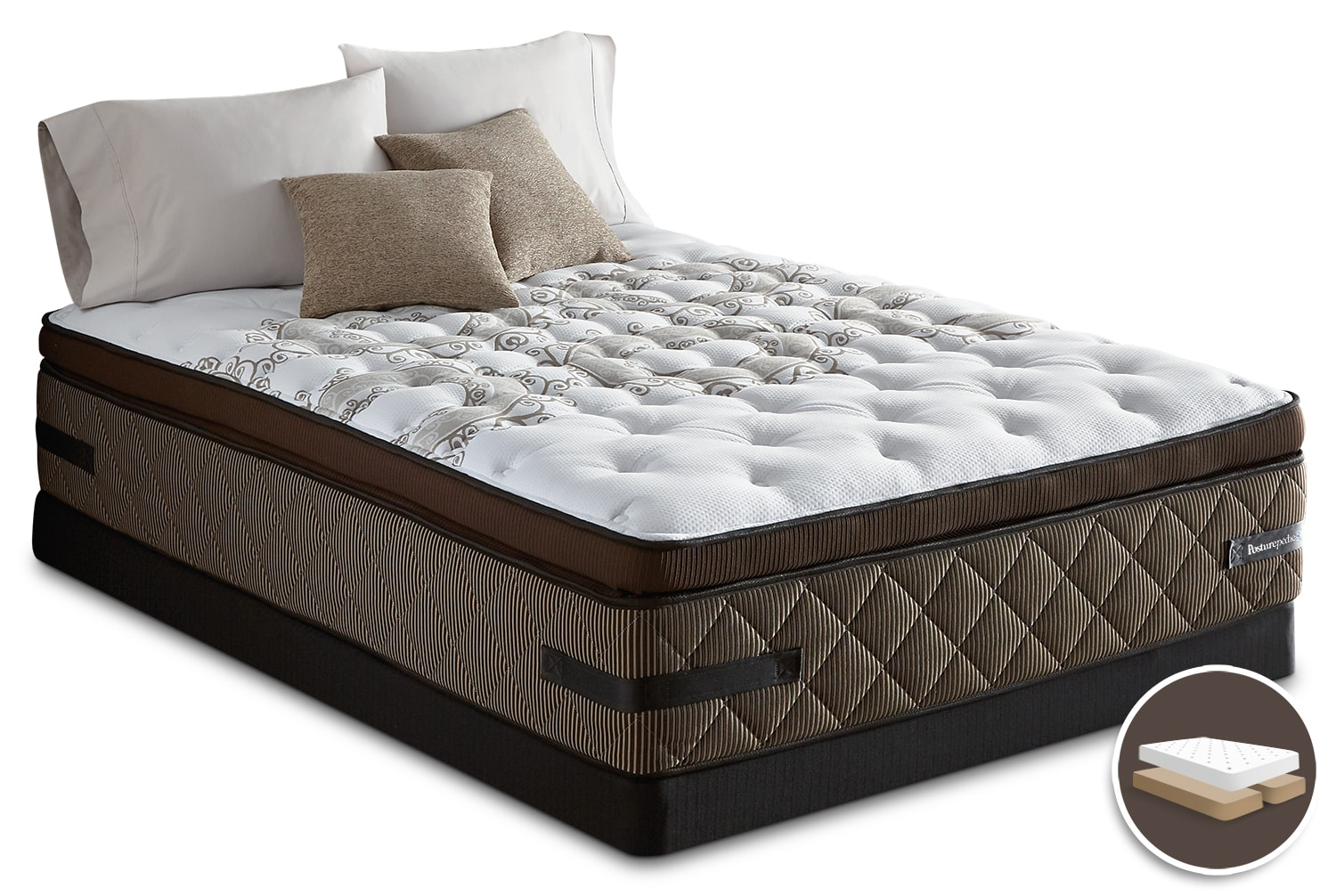 Mattresses and Bedding - Sealy Crown Jewel Sunsera Euro Pillow-Top Firm Split Queen Mattress Set