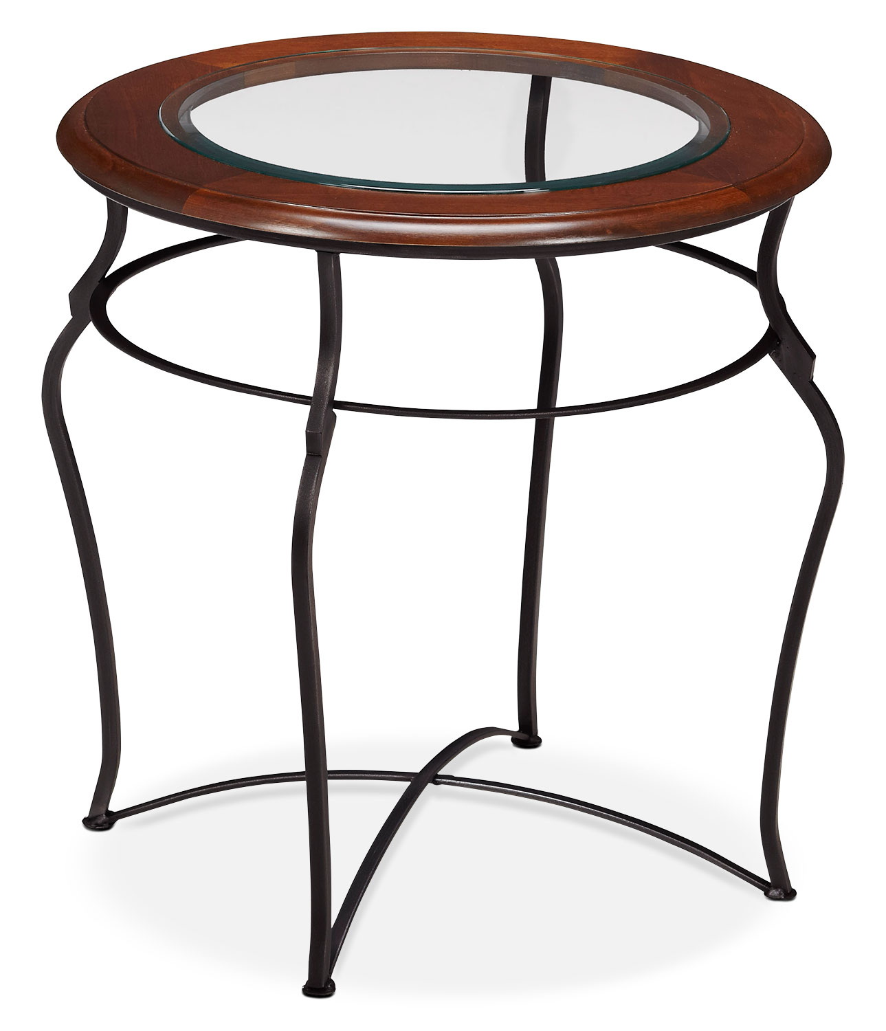 Online Only - Adele End Table - Glass Top with Black Base