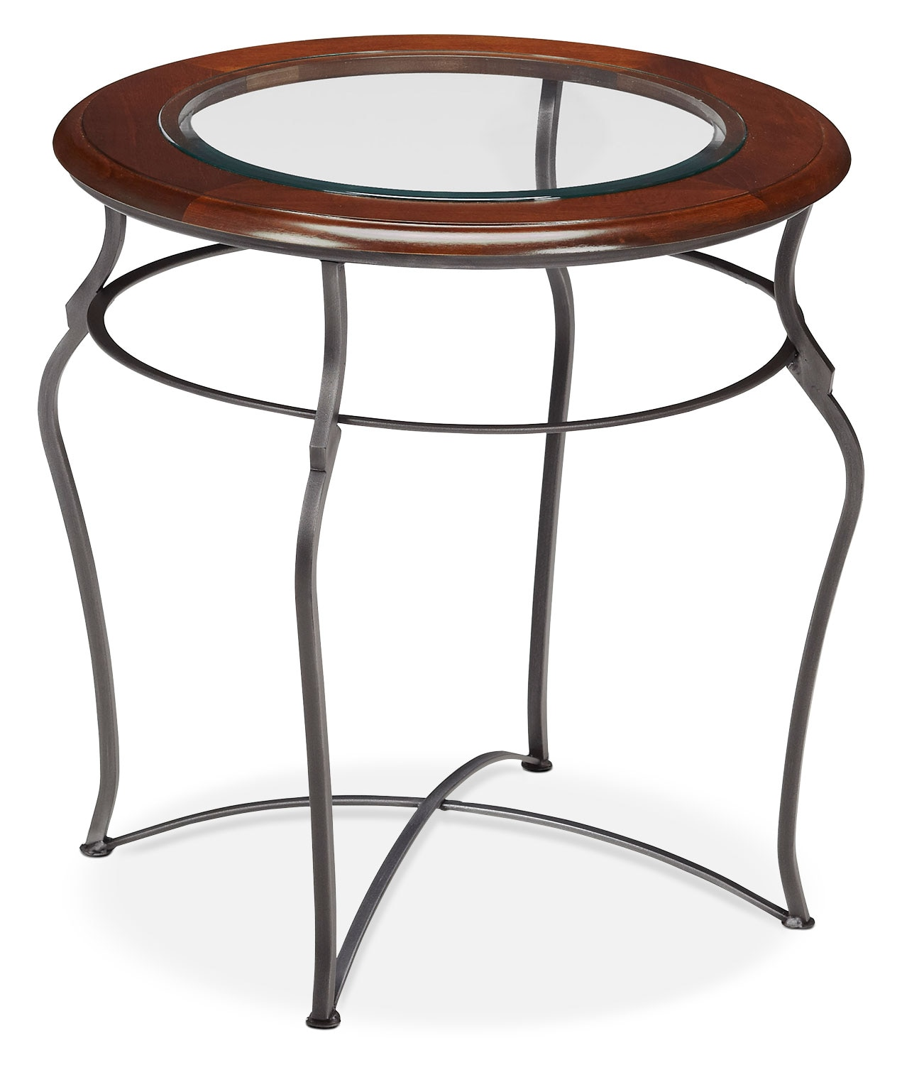 Online Only - Adele End Table - Glass Top with Pewter Base