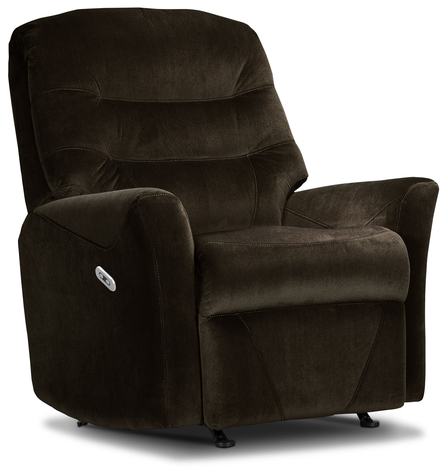 Living Room Furniture - Designed2B Recliner 4560 Microsuede Power Recliner - Chocolate