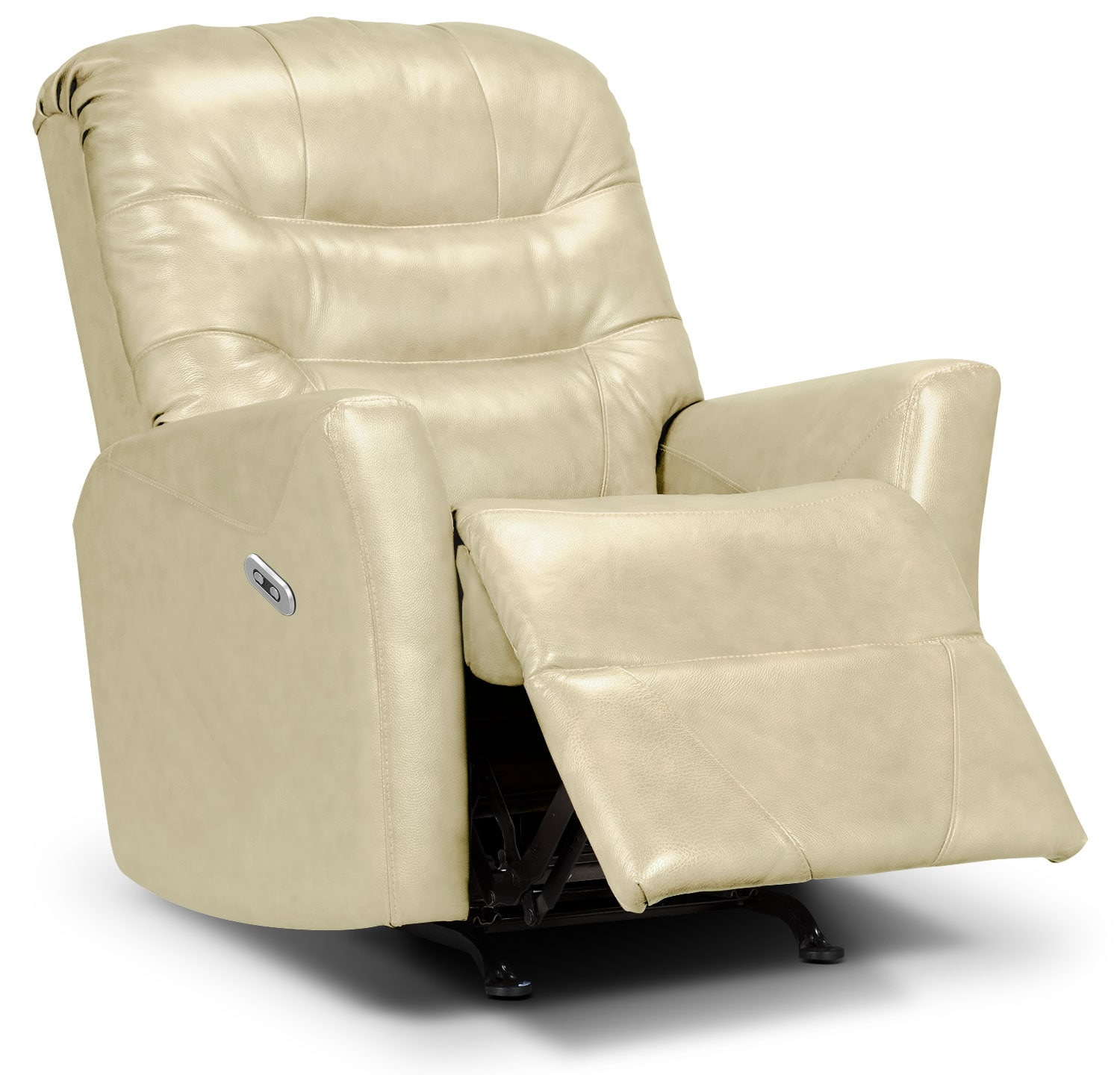 Living Room Furniture - Designed2B Recliner 4560 Bonded Leather Power Recliner - Beige