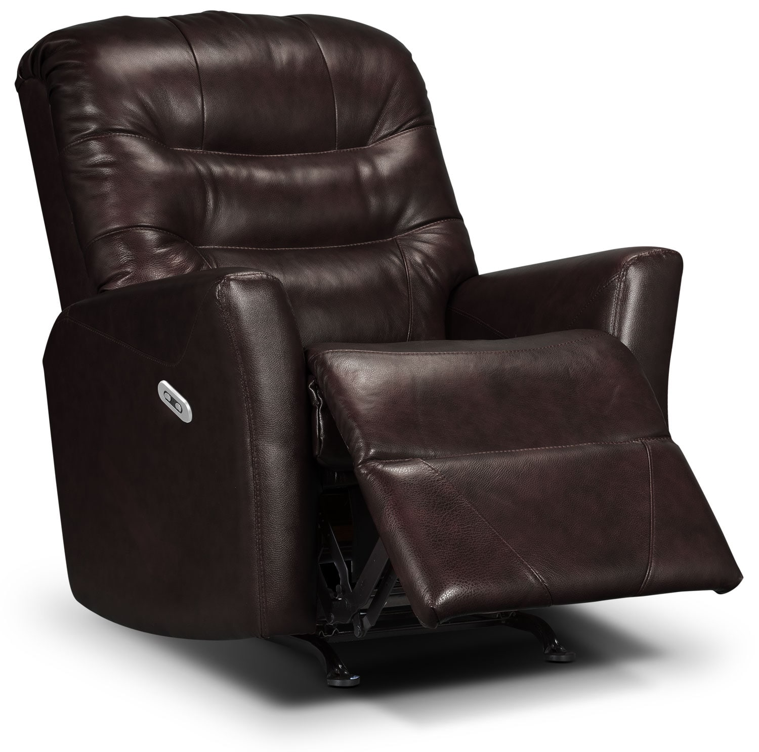 Living Room Furniture - Designed2B Recliner 4560 Bonded Leather Power Recliner - Chocolate