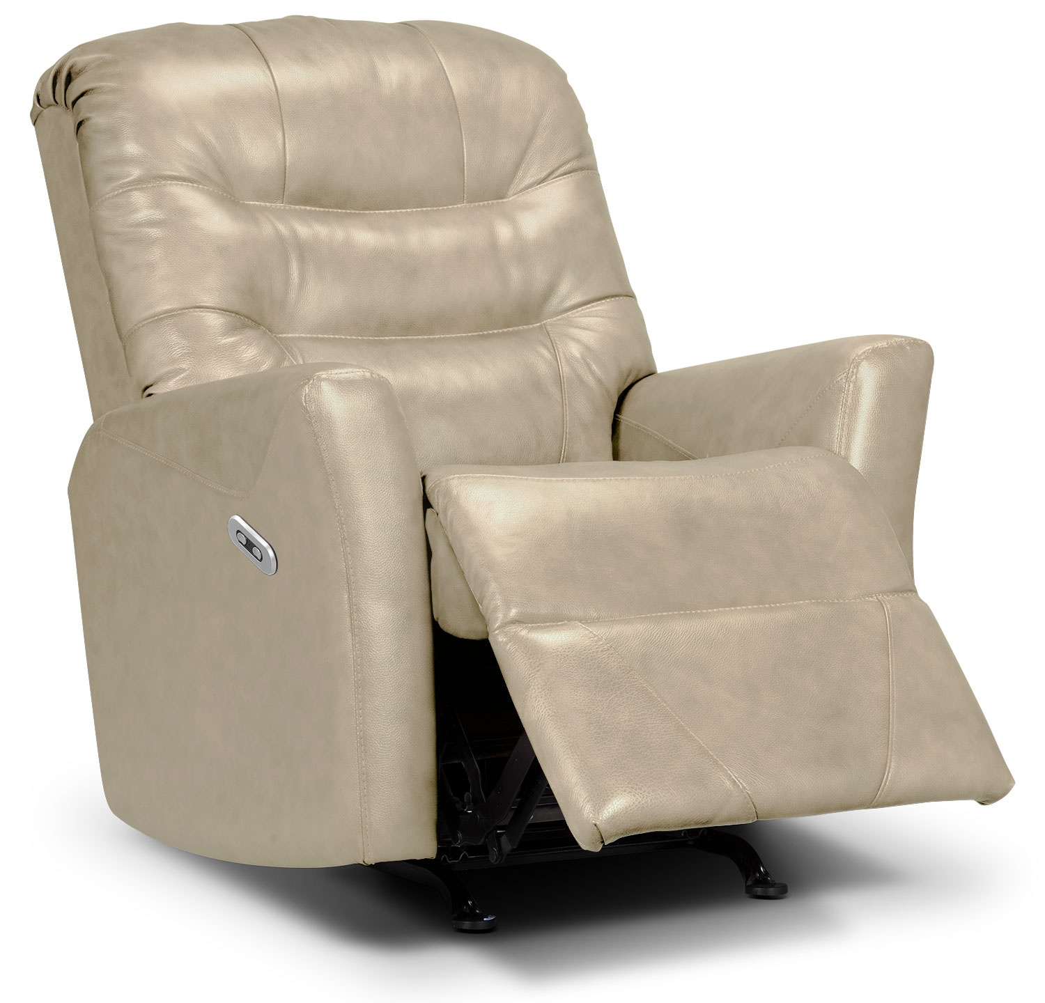 Living Room Furniture - Designed2B Recliner 4560 Genuine Leather Power Recliner - Taupe