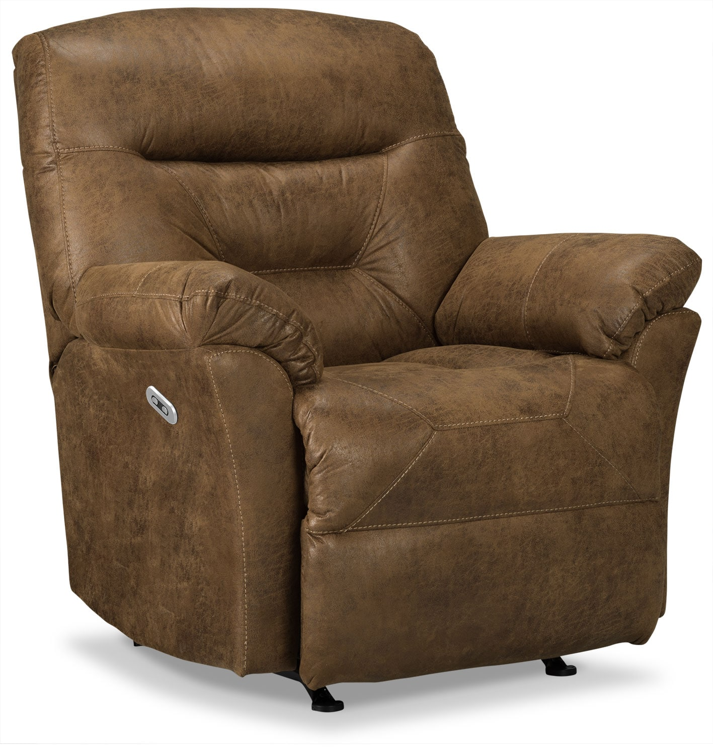 Living Room Furniture - Designed2B Recliner 4579 Leather-Look Fabric Power Recliner - Stout