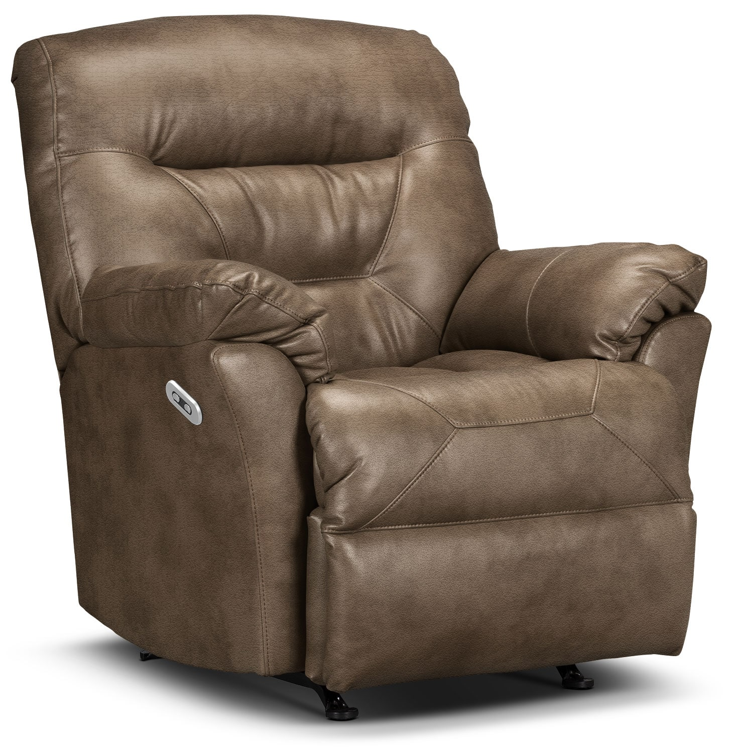Designed2B Recliner 4579 Leather-Look Fabric Power Recliner - Tobacco