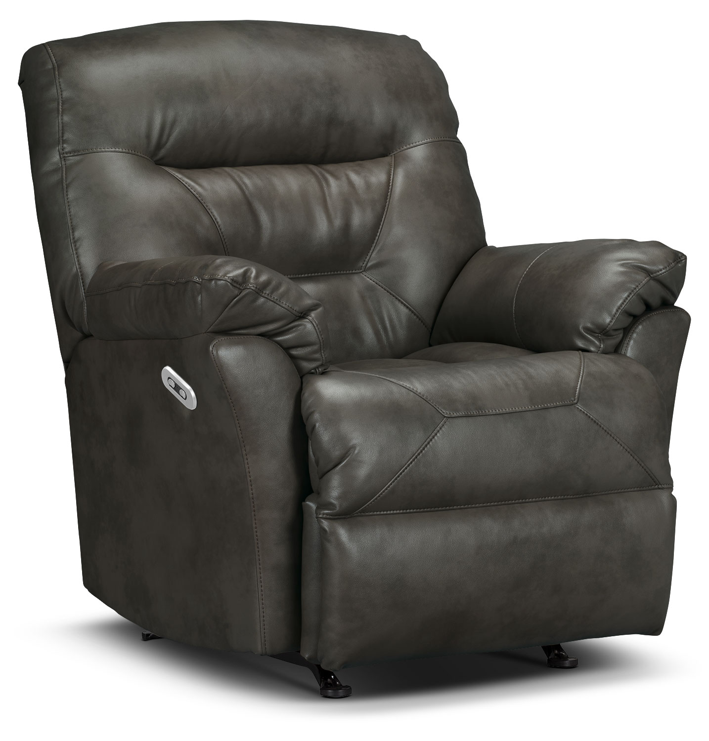 Living Room Furniture - Designed2B Recliner 4579 Leather-Look Fabric Power Recliner - Seal