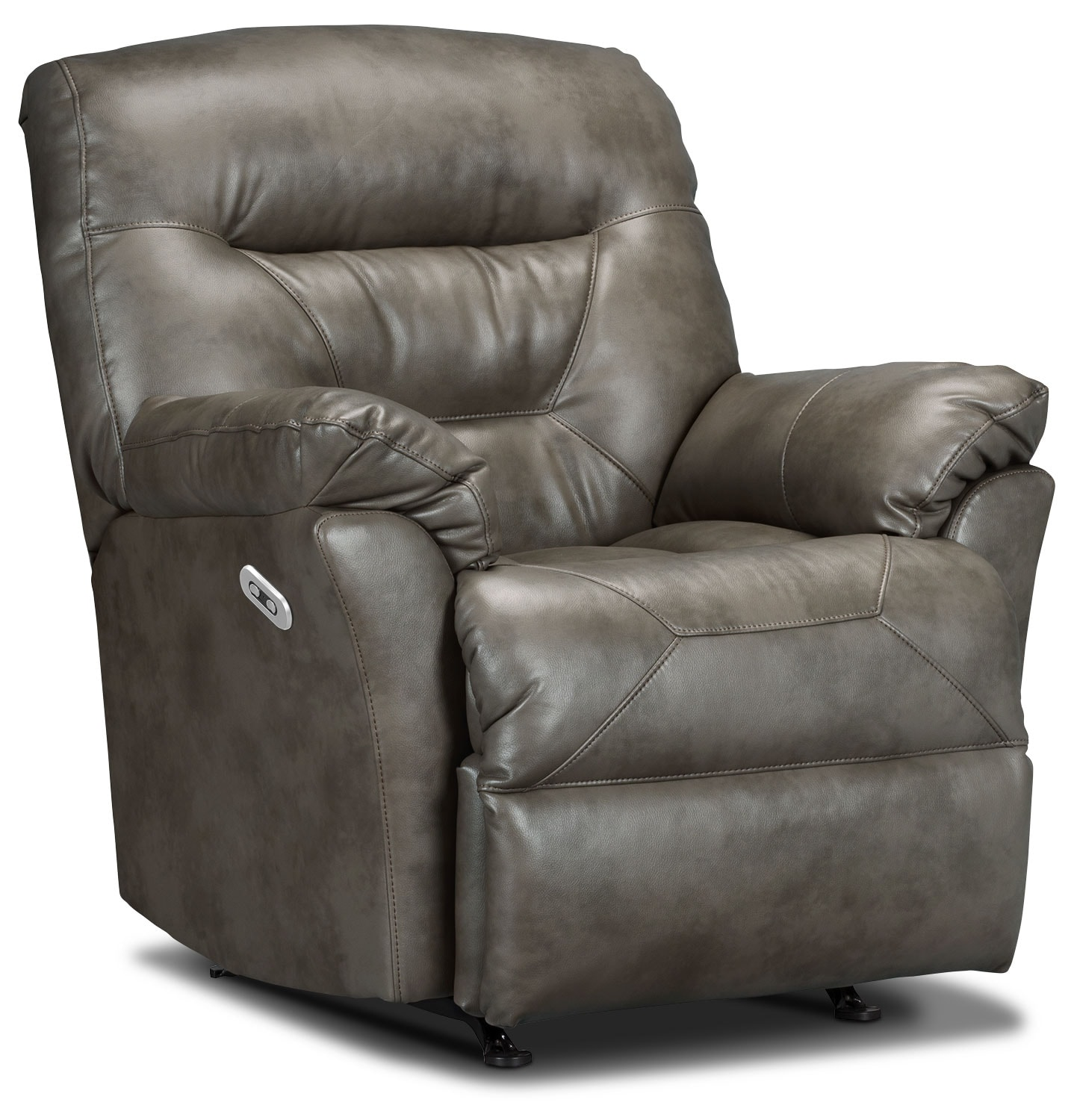 Living Room Furniture - Designed2B Recliner 4579 Leather-Look Fabric Power Recliner - Smoke
