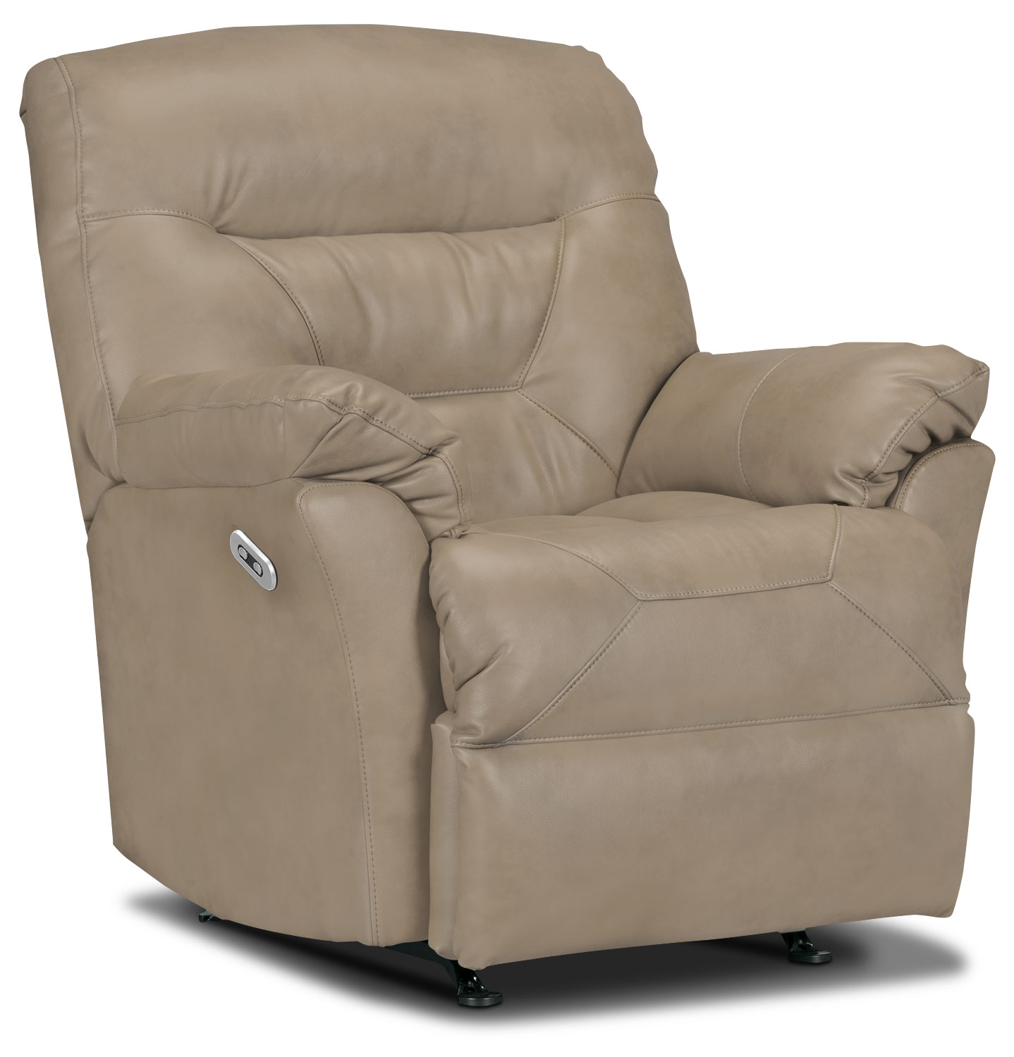 Living Room Furniture - Designed2B Recliner 4579 Genuine Leather Power Recliner - Putty