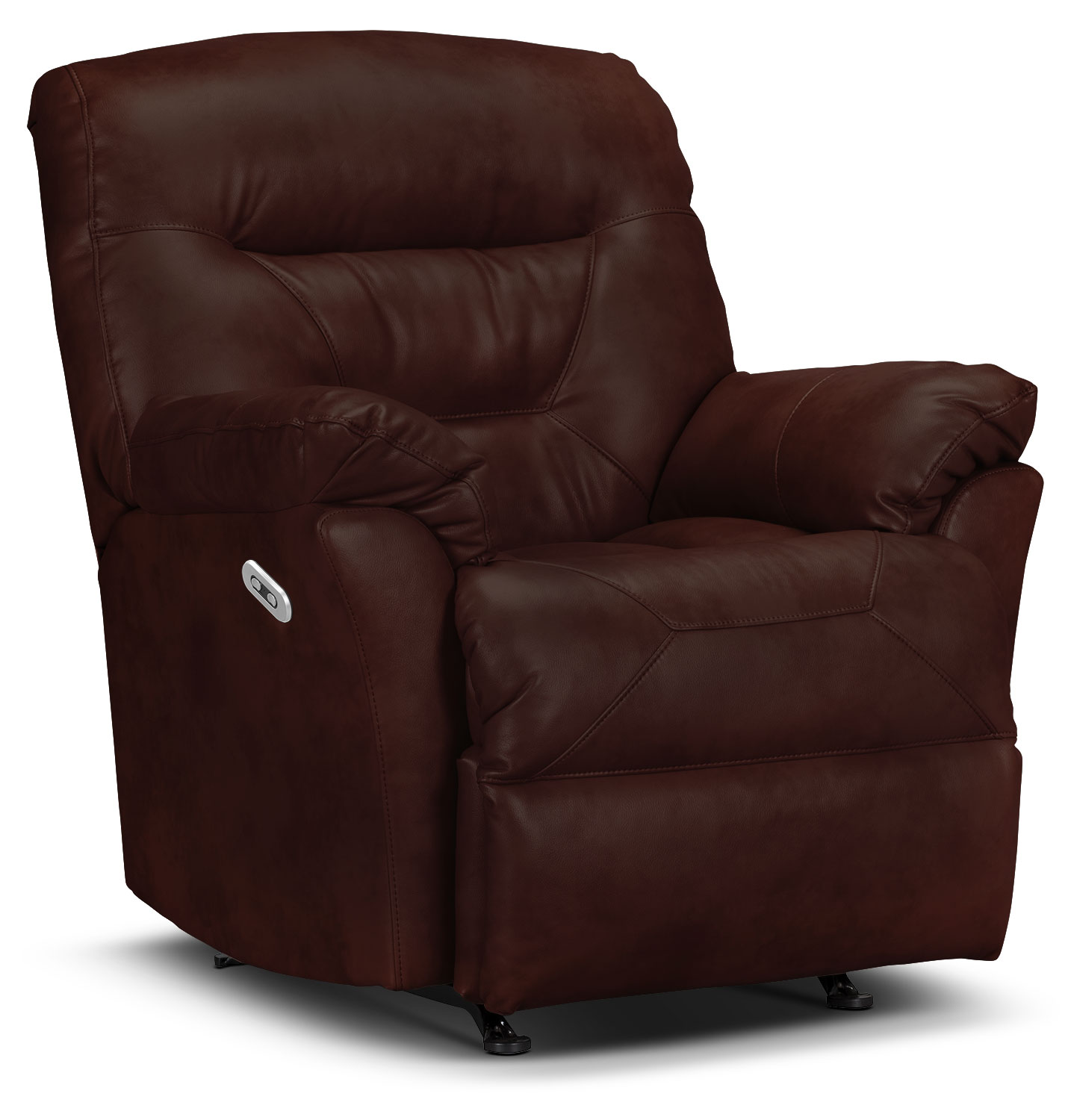 Living Room Furniture - Designed2B Recliner 4579 Genuine Leather Power Recliner - Walnut