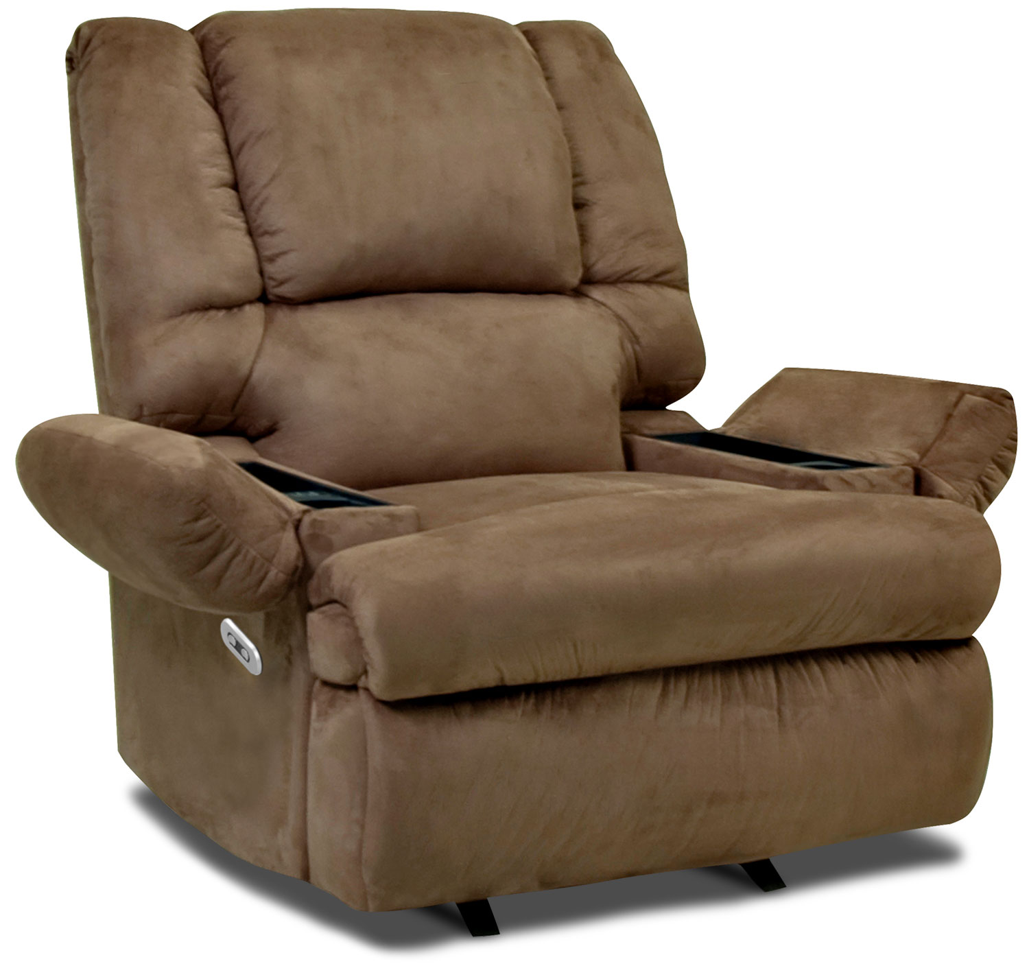 Living Room Furniture - Designed2B 5598 Padded Suede Power Recliner with Massage and Storage - Mocha