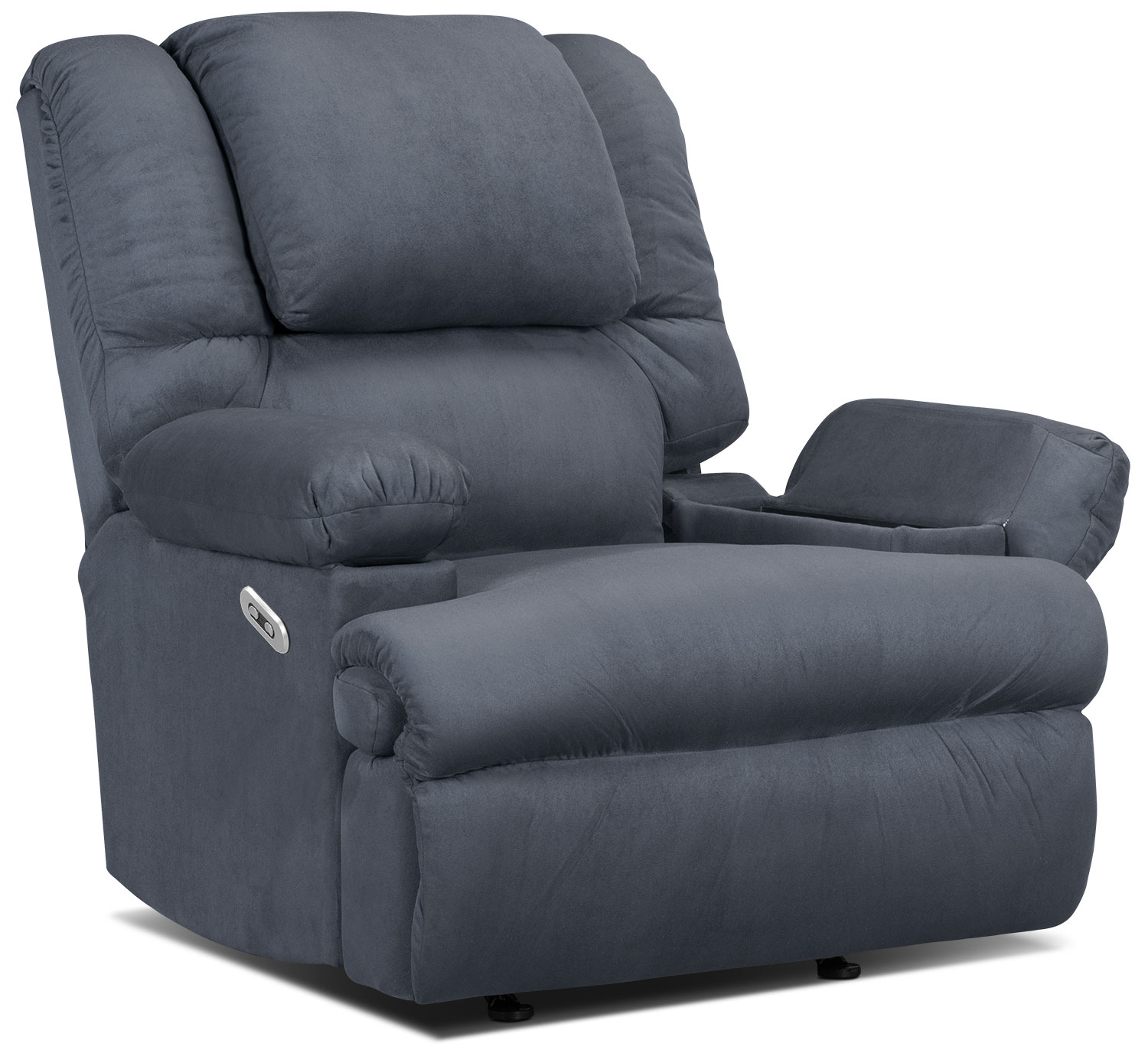 Living Room Furniture - Designed2B Recliner 5598 Padded Suede Power Recliner with Massage and Storage Arms - Navy