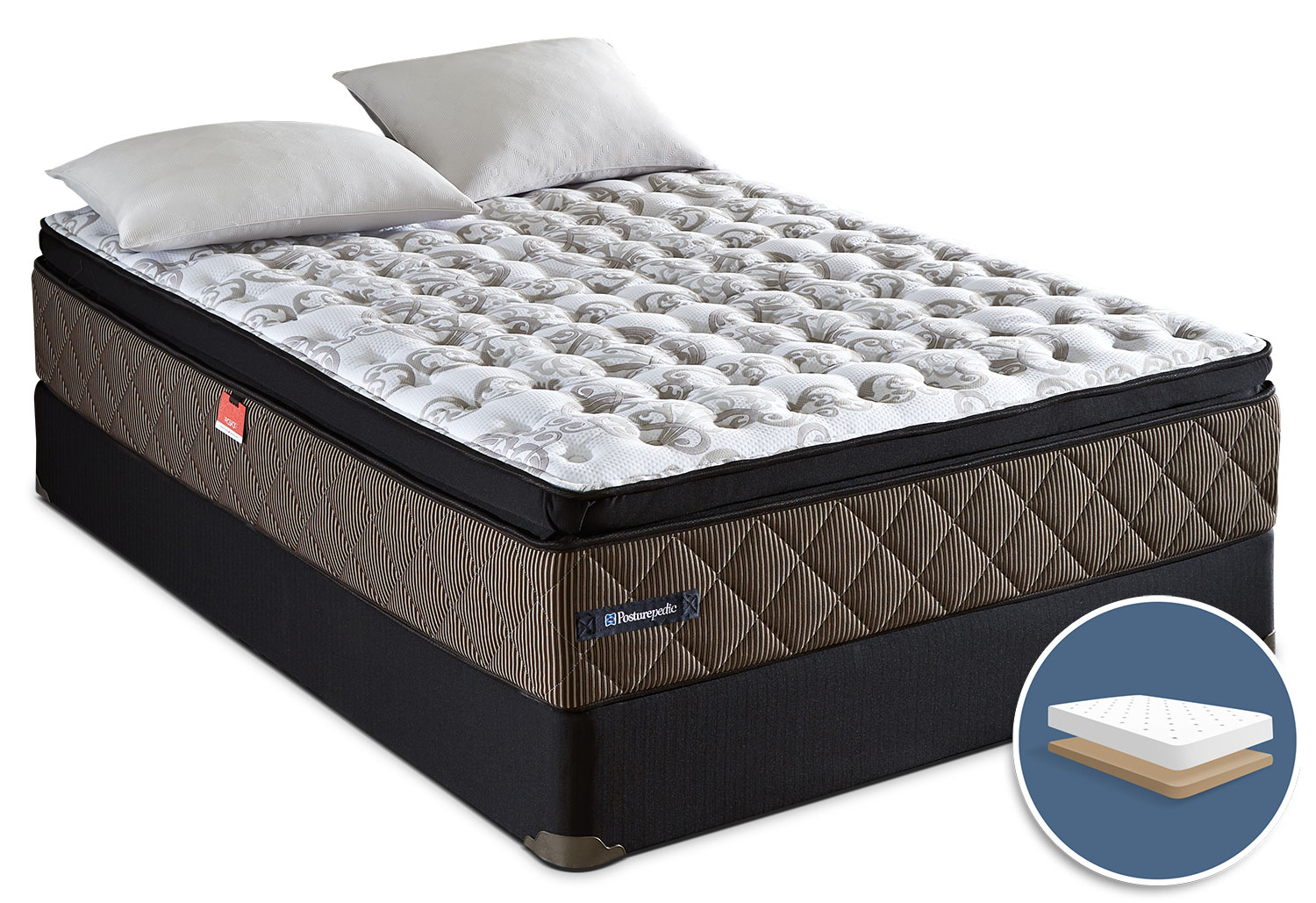 Mattresses and Bedding - Sealy Posturepedic Crown Jewel Roseberry Euro Pillow-Top Low-Profile Full Mattress Set