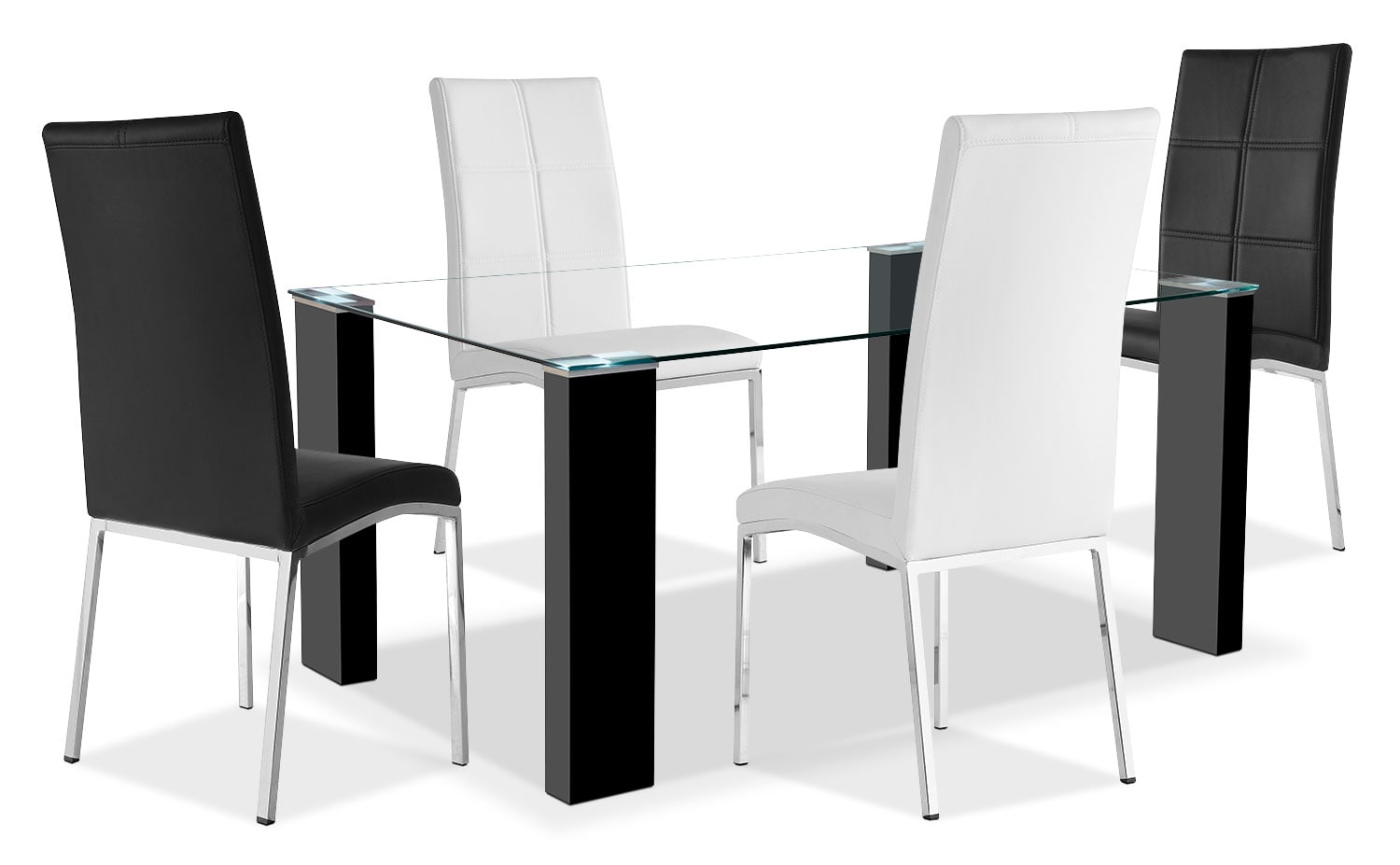 Milton 5-Piece Dining Package – Black and White