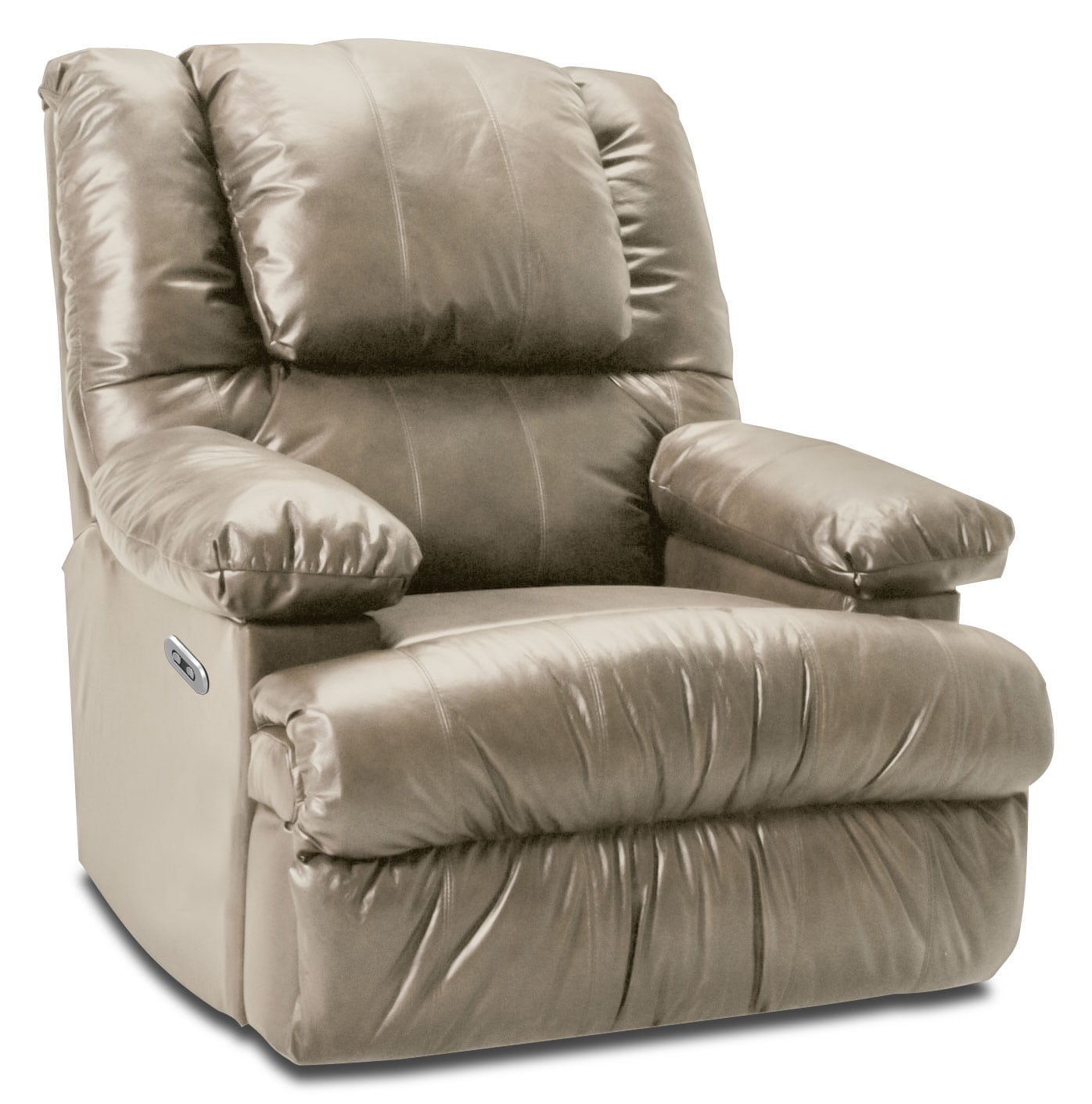 Living Room Furniture - Designed2B 5598 Bonded Leather Power Recliner with Massage and Storage - Putty