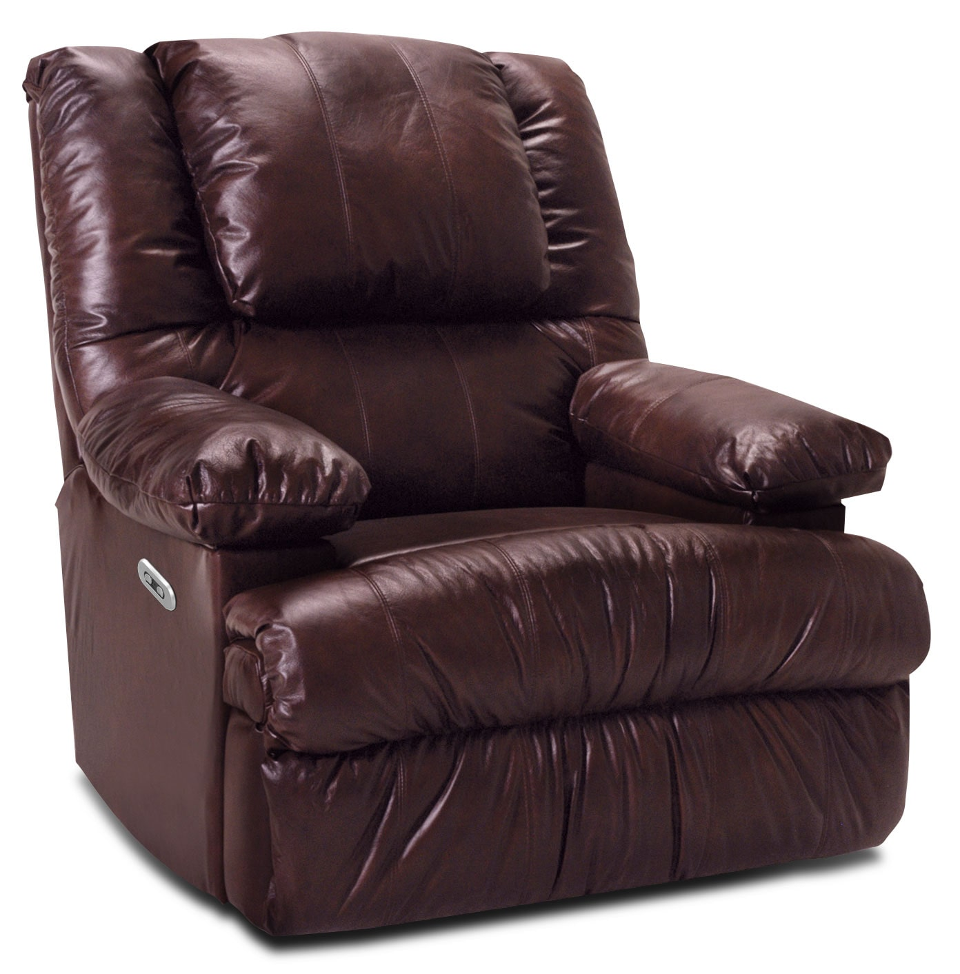 Living Room Furniture - Designed2B 5598 Genuine Leather Power Recliner with Massage and Storage Arms - Burgundy