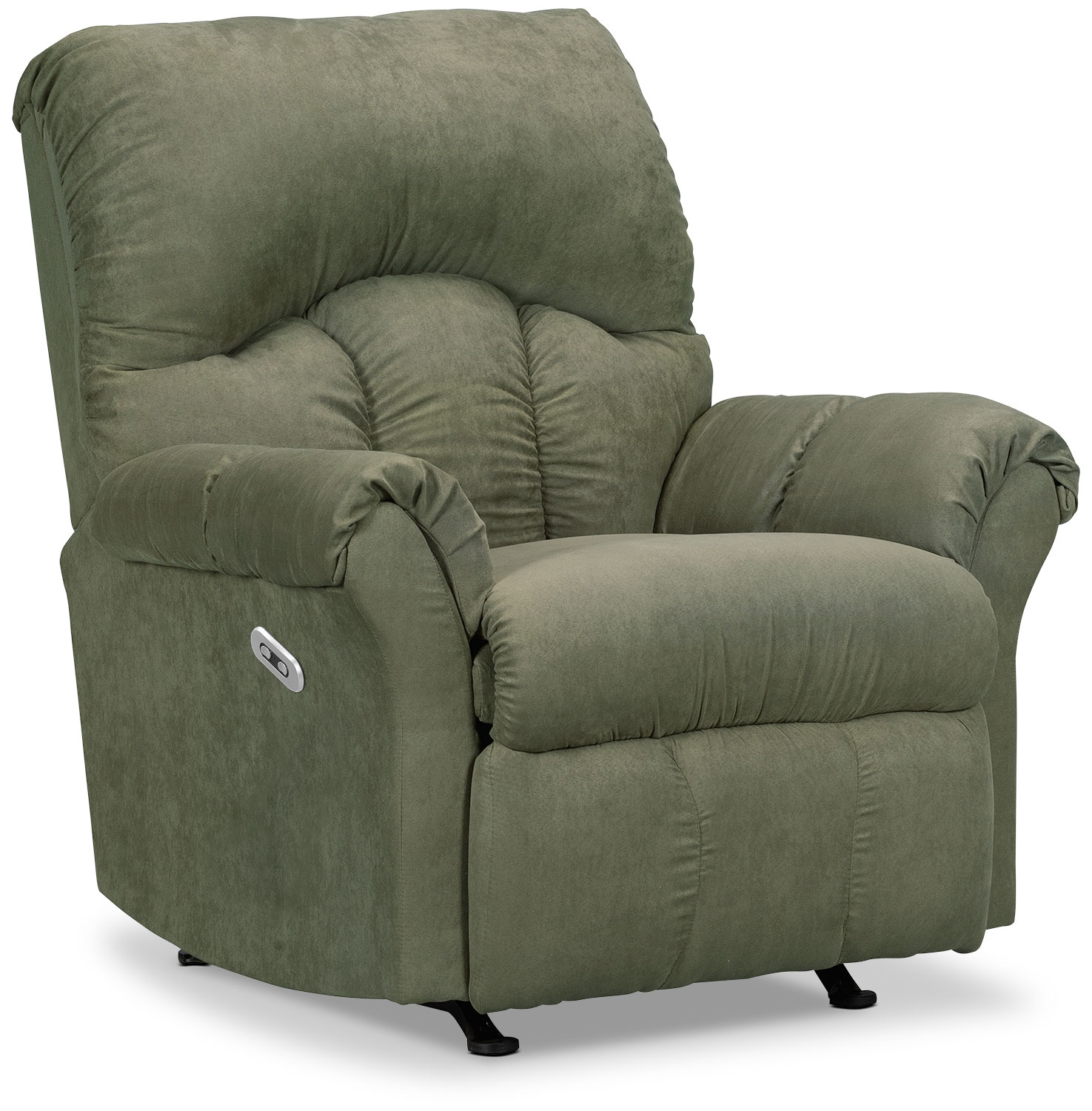 Living Room Furniture - Designed2B Recliner 6734 Microsuede Power Reclining Chair - Fern