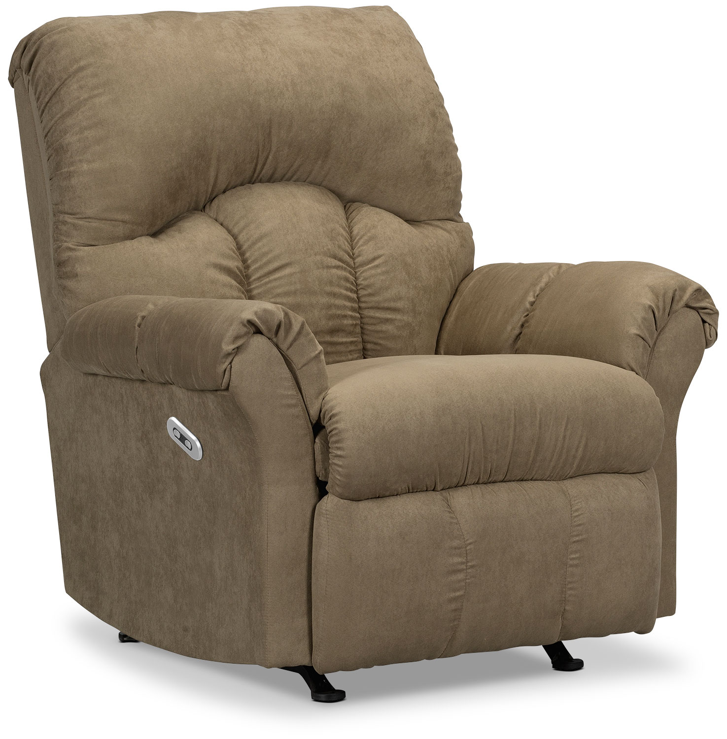 Living Room Furniture - Designed2B Recliner 6734 Microsuede Power Reclining Chair - Mocha